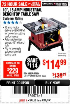 "Harbor Freight Coupon 10"", 15 AMP BENCHTOP TABLE SAW Lot No. 45804/63117/64459/63118 Expired: 4/28/19 - $114.99"