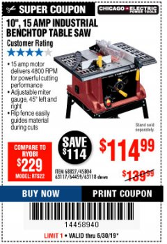 "Harbor Freight Coupon 10"", 15 AMP BENCHTOP TABLE SAW Lot No. 45804/63117/64459/63118 Expired: 6/30/19 - $114.99"