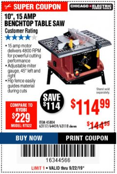 "Harbor Freight Coupon 10"", 15 AMP BENCHTOP TABLE SAW Lot No. 45804/63117/64459/63118 Expired: 9/22/19 - $114.99"