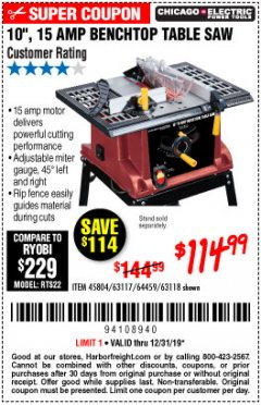 "Harbor Freight Coupon 10"", 15 AMP BENCHTOP TABLE SAW Lot No. 45804/63117/64459/63118 Expired: 12/31/19 - $114.99"