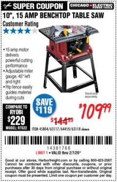 "Harbor Freight Coupon 10"", 15 AMP BENCHTOP TABLE SAW Lot No. 45804/63117/64459/63118 Expired: 2/7/20 - $109.99"
