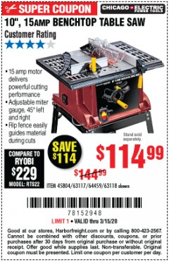 "Harbor Freight Coupon 10"", 15 AMP BENCHTOP TABLE SAW Lot No. 45804/63117/64459/63118 Expired: 3/15/20 - $114.99"