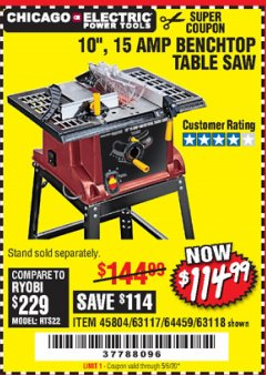 "Harbor Freight Coupon 10"", 15 AMP BENCHTOP TABLE SAW Lot No. 45804/63117/64459/63118 Expired: 6/30/20 - $114.99"