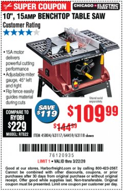 "Harbor Freight Coupon 10"", 15 AMP BENCHTOP TABLE SAW Lot No. 45804/63117/64459/63118 Expired: 3/22/20 - $109.99"