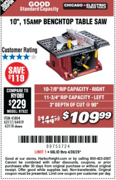 "Harbor Freight Coupon 10"", 15 AMP BENCHTOP TABLE SAW Lot No. 45804/63117/64459/63118 Expired: 6/30/20 - $109.99"