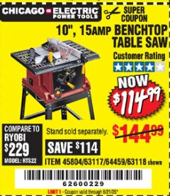 "Harbor Freight Coupon 10"", 15 AMP BENCHTOP TABLE SAW Lot No. 45804/63117/64459/63118 Expired: 6/21/20 - $114.99"