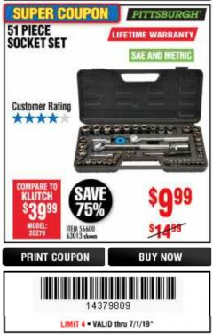 Harbor Freight Coupon 51 PIECE SAE AND METRIC SOCKET SET Lot No. 35338/63013 Expired: 6/30/19 - $9.99