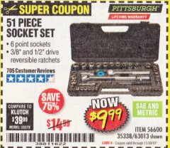 Harbor Freight Coupon 51 PIECE SAE AND METRIC SOCKET SET Lot No. 35338/63013 Expired: 11/30/19 - $9.99