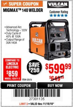 Harbor Freight Coupon VULCAN MIGMAX 140 WELDER WITH 120 VOLT INPUT Lot No. 63616 Expired: 11/18/18 - $599.99