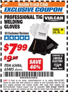 Harbor Freight ITC Coupon VULCAN PROFESSIONAL TIG WELDING GLOVES Lot No. 63485/63486 Expired: 12/31/18 - $7.99