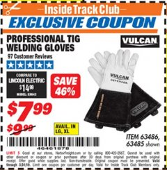 Harbor Freight ITC Coupon VULCAN PROFESSIONAL TIG WELDING GLOVES Lot No. 63485/63486 Expired: 5/31/19 - $7.99