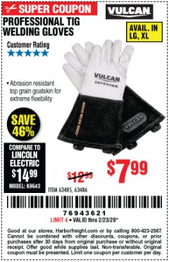 Harbor Freight Coupon VULCAN PROFESSIONAL TIG WELDING GLOVES Lot No. 63485/63486 Expired: 2/23/20 - $7.99