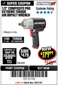 "Harbor Freight Coupon 1/2"" COMPOSITE PRO EXTREME TORQUE AIR IMPACT WRENCH Lot No. 62891 Expired: 10/31/18 - $119.99"