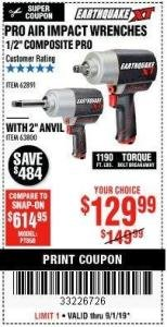 "Harbor Freight Coupon 1/2"" COMPOSITE PRO EXTREME TORQUE AIR IMPACT WRENCH Lot No. 62891 Expired: 9/1/19 - $129.99"
