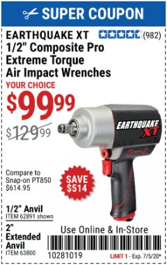 "Harbor Freight Coupon 1/2"" COMPOSITE PRO EXTREME TORQUE AIR IMPACT WRENCH Lot No. 62891 Valid Thru: 7/5/20 - $99.99"