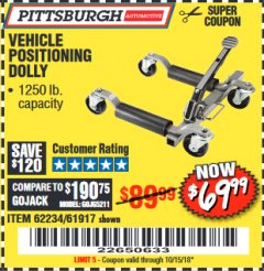 Harbor Freight Coupon 1250 LB. VEHICLE POSITIONING DOLLY Lot No. 62234/61917 Expired: 10/15/18 - $69.99