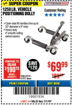 Harbor Freight Coupon 1250 LB. VEHICLE POSITIONING DOLLY Lot No. 62234/61917 Expired: 7/1/18 - $69.99