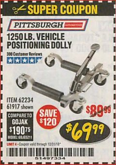 Harbor Freight Coupon 1250 LB. VEHICLE POSITIONING DOLLY Lot No. 62234/61917 Expired: 12/31/18 - $69.99