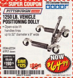 Harbor Freight Coupon 1250 LB. VEHICLE POSITIONING DOLLY Lot No. 62234/61917 Expired: 2/28/19 - $64.99