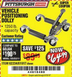 Harbor Freight Coupon 1250 LB. VEHICLE POSITIONING DOLLY Lot No. 62234/61917 Expired: 6/15/19 - $64.99