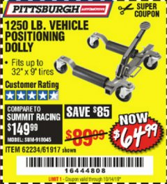 Harbor Freight Coupon 1250 LB. VEHICLE POSITIONING DOLLY Lot No. 62234/61917 Expired: 10/14/19 - $64.99