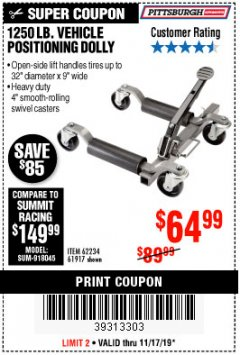 Harbor Freight Coupon 1250 LB. VEHICLE POSITIONING DOLLY Lot No. 62234/61917 Expired: 11/17/19 - $64.99