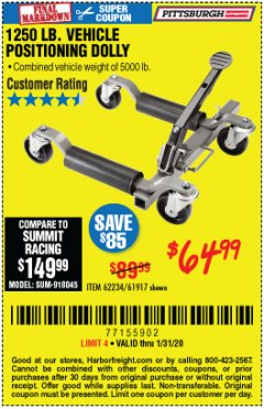 Harbor Freight Coupon 1250 LB. VEHICLE POSITIONING DOLLY Lot No. 62234/61917 Expired: 1/31/20 - $64.99