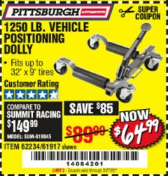 Harbor Freight Coupon 1250 LB. VEHICLE POSITIONING DOLLY Lot No. 62234/61917 Valid Thru: 2/27/20 - $64.99