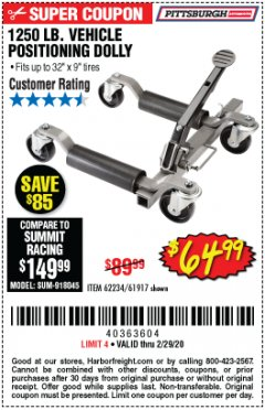 Harbor Freight Coupon 1250 LB. VEHICLE POSITIONING DOLLY Lot No. 62234/61917 Valid Thru: 2/29/20 - $64.99