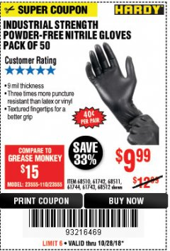 Harbor Freight Coupon INDUSTRIAL STRENGTH POWDER-FREE NITRILE GLOVES PACK OF 50 Lot No. 68510 Expired: 10/28/18 - $9.99