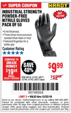 Harbor Freight Coupon INDUSTRIAL STRENGTH POWDER-FREE NITRILE GLOVES PACK OF 50 Lot No. 68510 Expired: 12/22/19 - $9.99