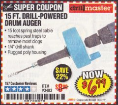 Harbor Freight Coupon 15 FT. DRILL-POWERED DRUM AUGER Lot No. 93483 Expired: 10/31/19 - $6.99