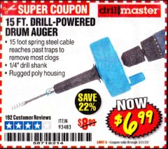 Harbor Freight Coupon 15 FT. DRILL-POWERED DRUM AUGER Lot No. 93483 Expired: 3/31/20 - $6.99