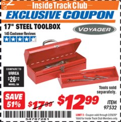 "Harbor Freight ITC Coupon 17"" STEEL TOOLBOX Lot No. 97532 Expired: 2/29/20 - $12.99"