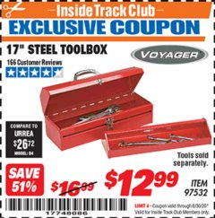 "Harbor Freight ITC Coupon 17"" STEEL TOOLBOX Lot No. 97532 Expired: 6/30/20 - $12.99"