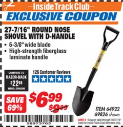 "Harbor Freight ITC Coupon 27-7/16"" ROUND NOSE SHOVEL WITH D-HANDLE Lot No. 64922/69826 Expired: 10/31/19 - $6.99"