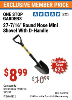 "Harbor Freight ITC Coupon 27-7/16"" ROUND NOSE SHOVEL WITH D-HANDLE Lot No. 64922/69826 Expired: 9/30/20 - $8.99"