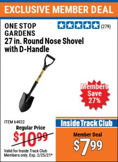 "Harbor Freight ITC Coupon 27-7/16"" ROUND NOSE SHOVEL WITH D-HANDLE Lot No. 64922/69826 Expired: 2/25/21 - $7.99"