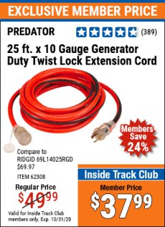 Harbor Freight ITC Coupon 25 FT. X 10 GAUGE GENERATOR DUTY TWIST LOCK EXTENSION CORD Lot No. 62308 Valid Thru: 10/31/20 - $37.99