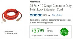 Harbor Freight Coupon 25 FT. X 10 GAUGE GENERATOR DUTY TWIST LOCK EXTENSION CORD Lot No. 62308 Expired: 6/30/20 - $37.99