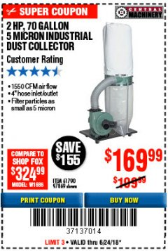 Harbor Freight Coupon 2 HP INDUSTRIAL 5 MICRON DUST COLLECTOR Lot No. 97869/61790 Expired: 6/24/18 - $169.99
