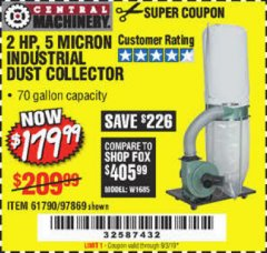 Harbor Freight Coupon 2 HP INDUSTRIAL 5 MICRON DUST COLLECTOR Lot No. 97869/61790 Expired: 9/3/19 - $179.99
