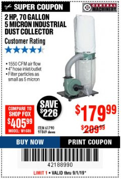 Harbor Freight Coupon 2 HP INDUSTRIAL 5 MICRON DUST COLLECTOR Lot No. 97869/61790 Expired: 9/1/19 - $179.99