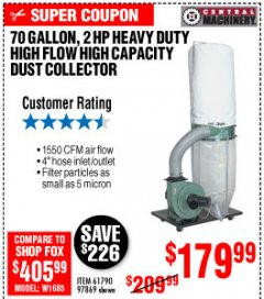Harbor Freight Coupon 2 HP INDUSTRIAL 5 MICRON DUST COLLECTOR Lot No. 97869/61790 Expired: 10/4/19 - $179.99