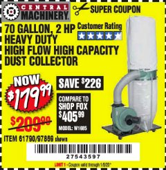 Harbor Freight Coupon 2 HP INDUSTRIAL 5 MICRON DUST COLLECTOR Lot No. 97869/61790 Expired: 1/5/20 - $179.99