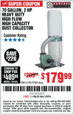 Harbor Freight Coupon 2 HP INDUSTRIAL 5 MICRON DUST COLLECTOR Lot No. 97869/61790 Expired: 2/9/20 - $179.99