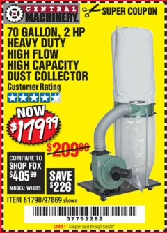 Harbor Freight Coupon 2 HP INDUSTRIAL 5 MICRON DUST COLLECTOR Lot No. 97869/61790 Valid Thru: 5/6/20 - $179.99