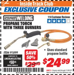 Harbor Freight ITC Coupon PROPANE TORCH WITH THREE BURNERS Lot No. 91899 Expired: 11/30/19 - $24.99