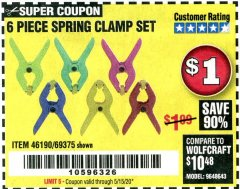 Harbor Freight Coupon 6 PIECE MICRO SPRING CLAMP SET Lot No. 46190/69375 EXPIRES: 6/30/20 - $1
