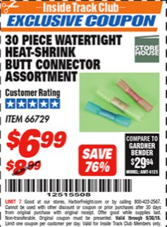 Harbor Freight ITC Coupon 30 PIECE WATERTIGHT HEAT-SHRINK BUTT CONNECTOR ASSORTMENT Lot No. 66729 Expired: 9/30/18 - $6.99
